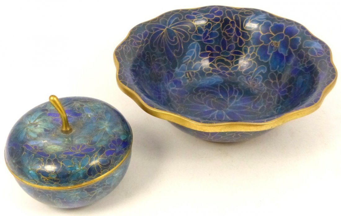 2pc CHINESE CLOISONNE BOX AND BOWL - 3