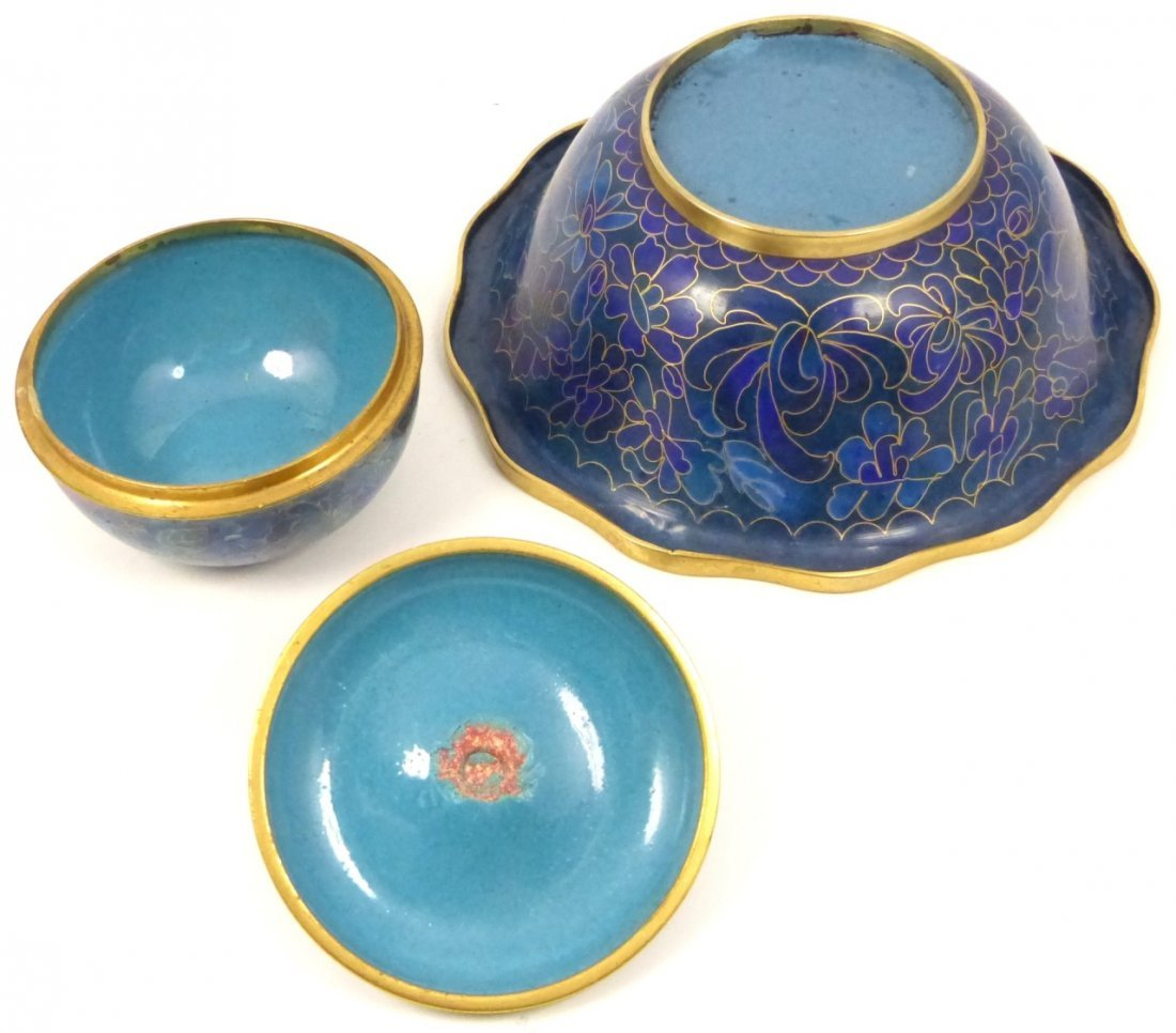 2pc CHINESE CLOISONNE BOX AND BOWL - 4