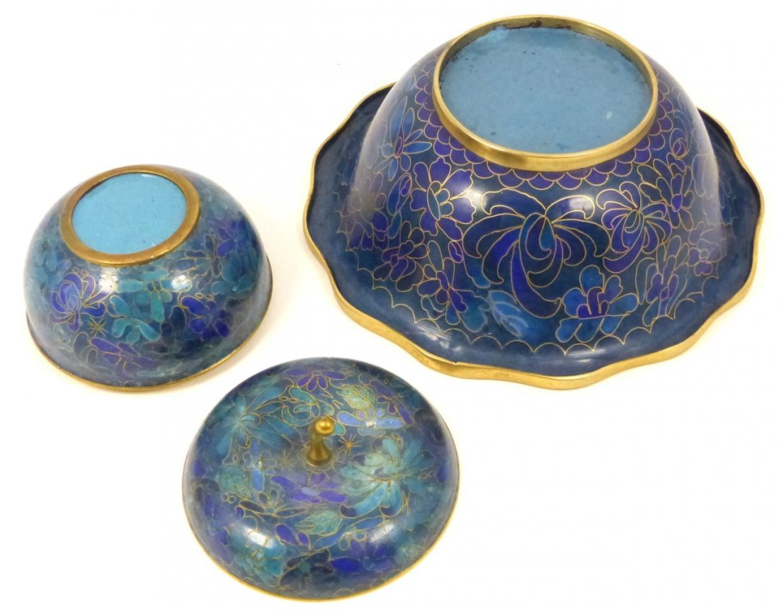 2pc CHINESE CLOISONNE BOX AND BOWL - 5