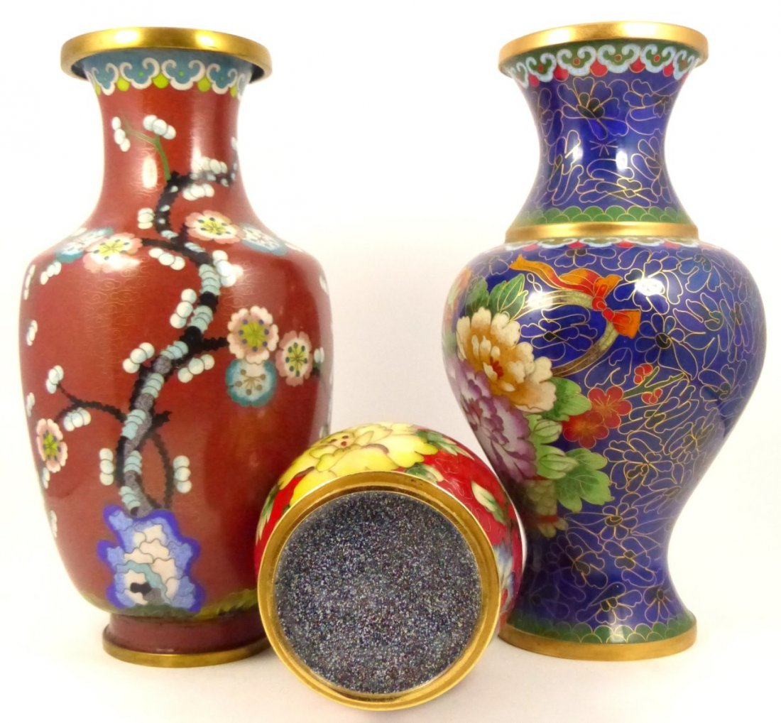 3pc CHINESE CLOISONNE VASES - 5