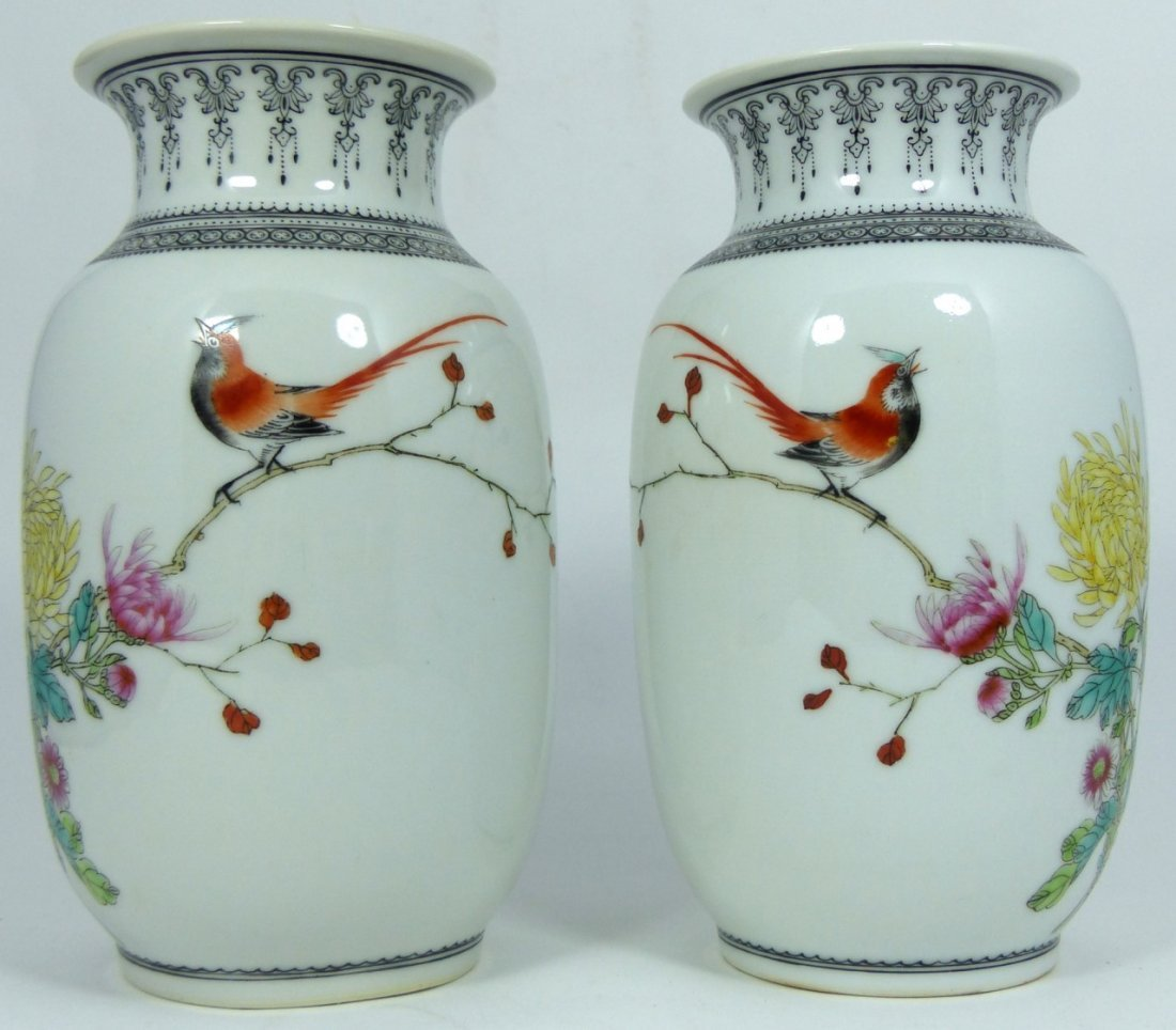 PAIR CHINESE PORCELAIN REPUBLIC PERIOD VASES - 2