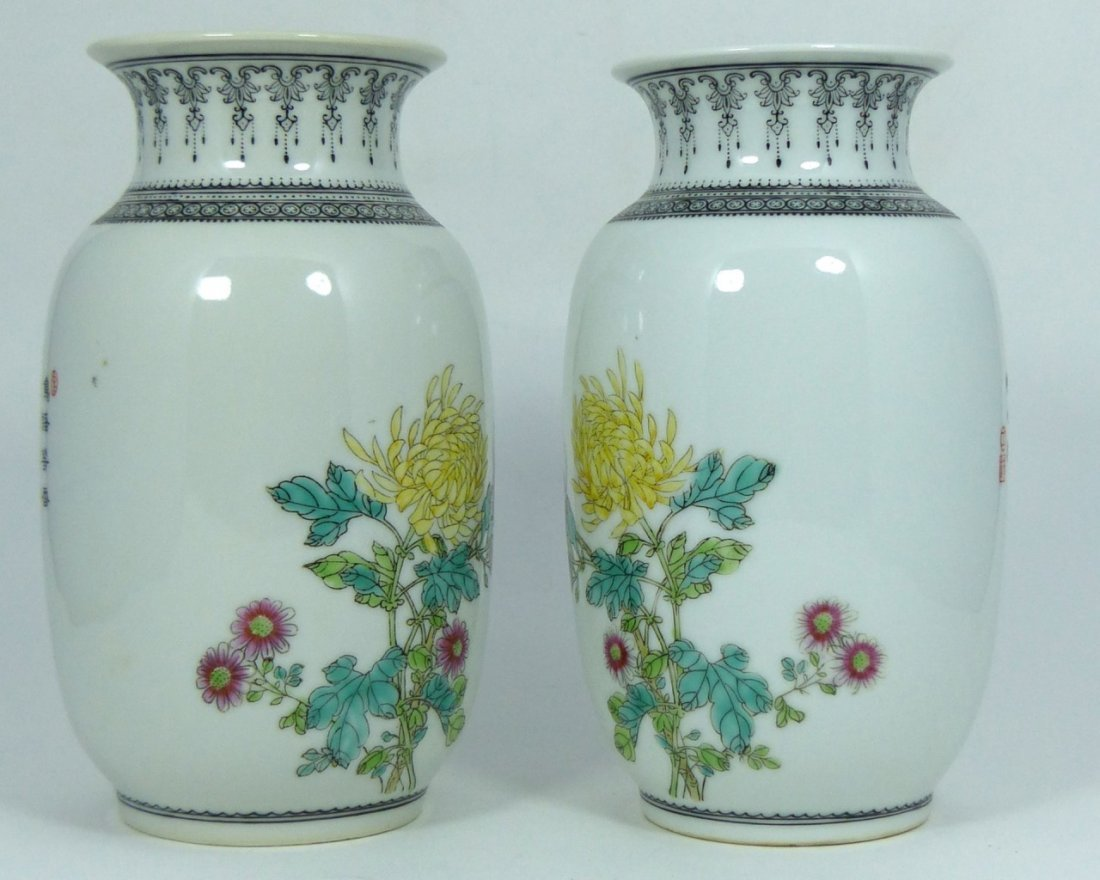 PAIR CHINESE PORCELAIN REPUBLIC PERIOD VASES - 5