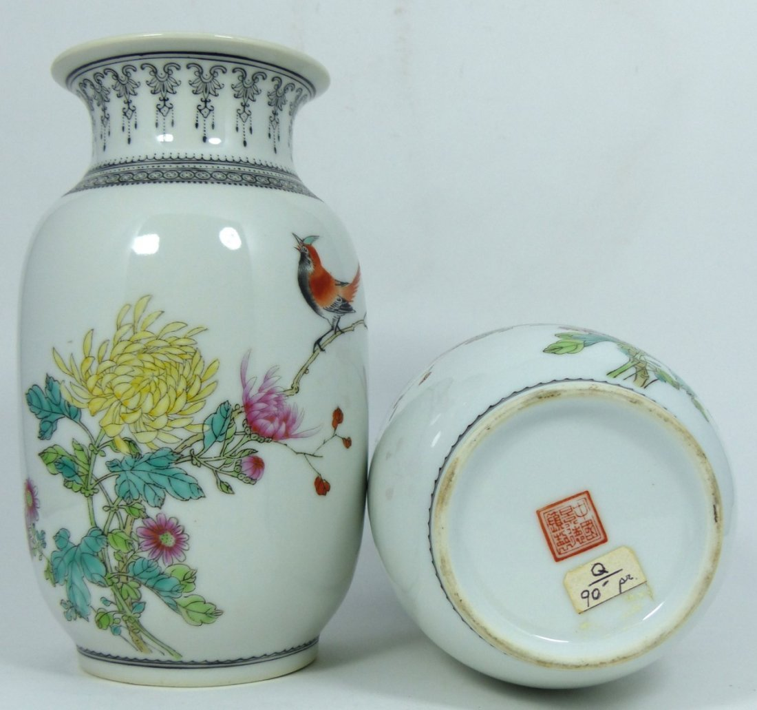 PAIR CHINESE PORCELAIN REPUBLIC PERIOD VASES - 7