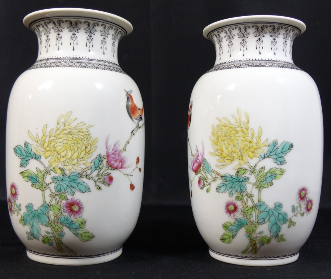 PAIR CHINESE PORCELAIN REPUBLIC PERIOD VASES - 9