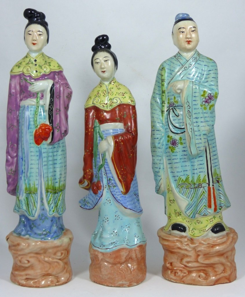 3pc CHINESE PORCELAIN PAINTED FIGURES