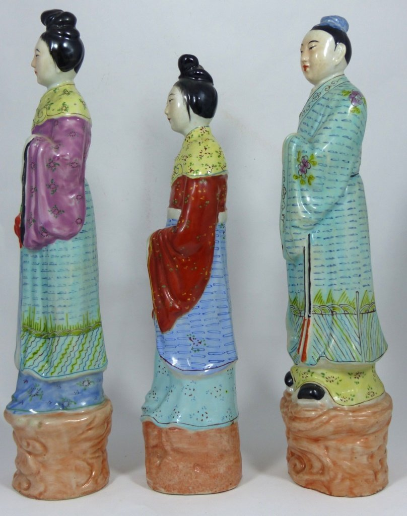 3pc CHINESE PORCELAIN PAINTED FIGURES - 2