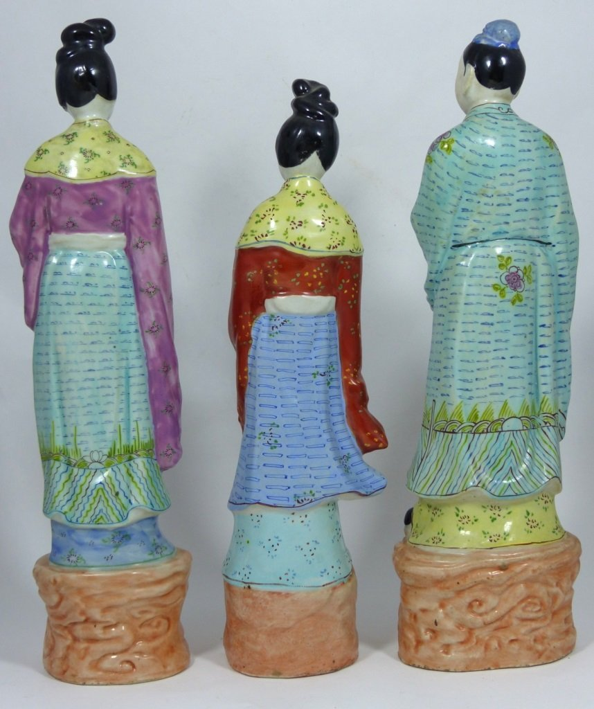 3pc CHINESE PORCELAIN PAINTED FIGURES - 3