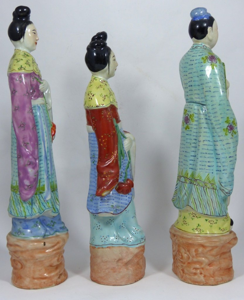 3pc CHINESE PORCELAIN PAINTED FIGURES - 4