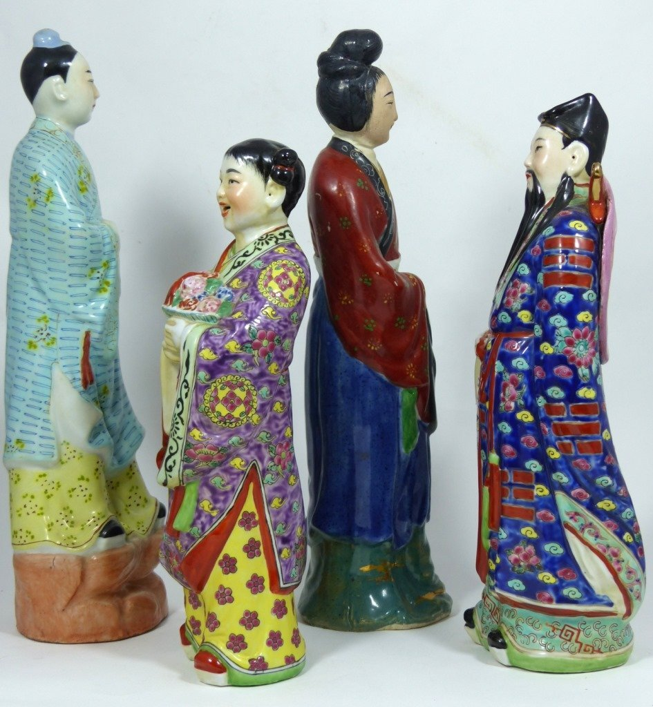 4pc CHINESE PORCELAIN PAINTED FIGURES - 2