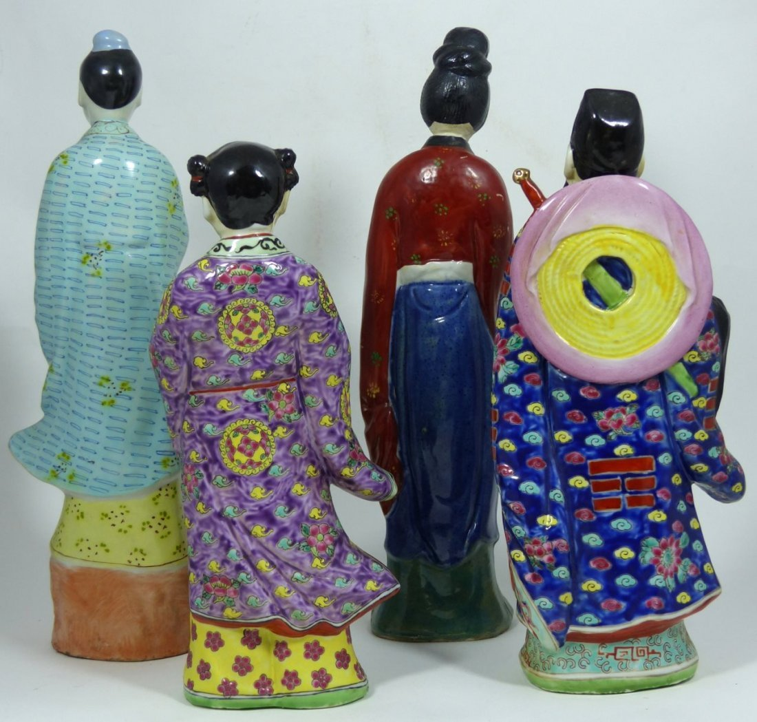 4pc CHINESE PORCELAIN PAINTED FIGURES - 3