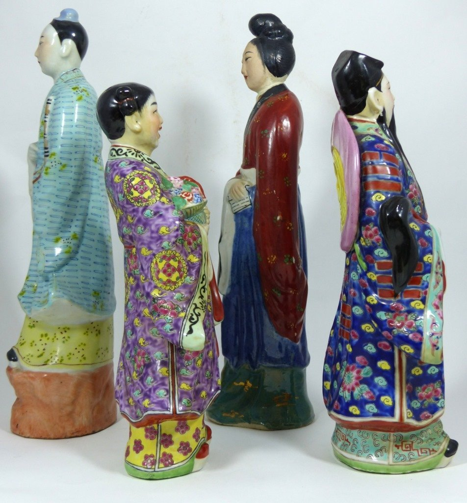 4pc CHINESE PORCELAIN PAINTED FIGURES - 4