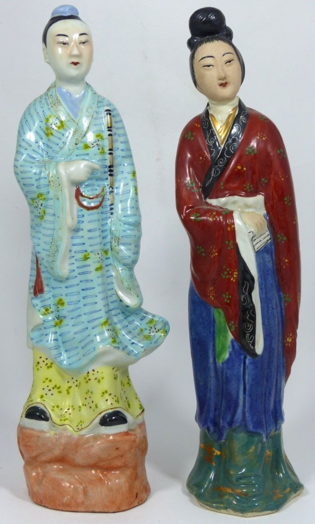 4pc CHINESE PORCELAIN PAINTED FIGURES - 7