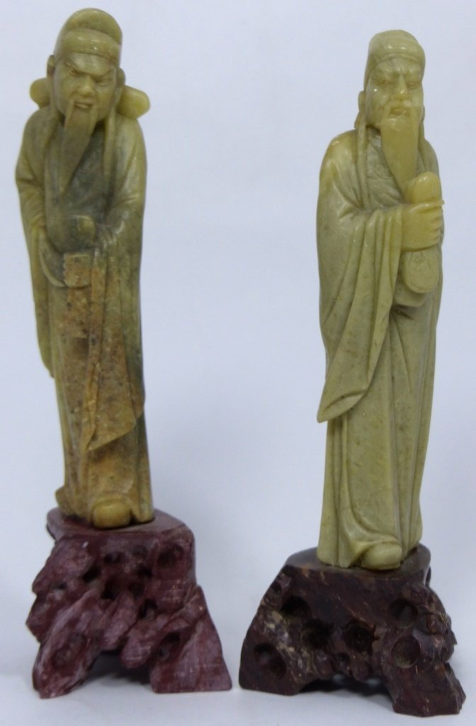 3pc CHINESE CARVED SOAPSTONE SCULPTURES - 10