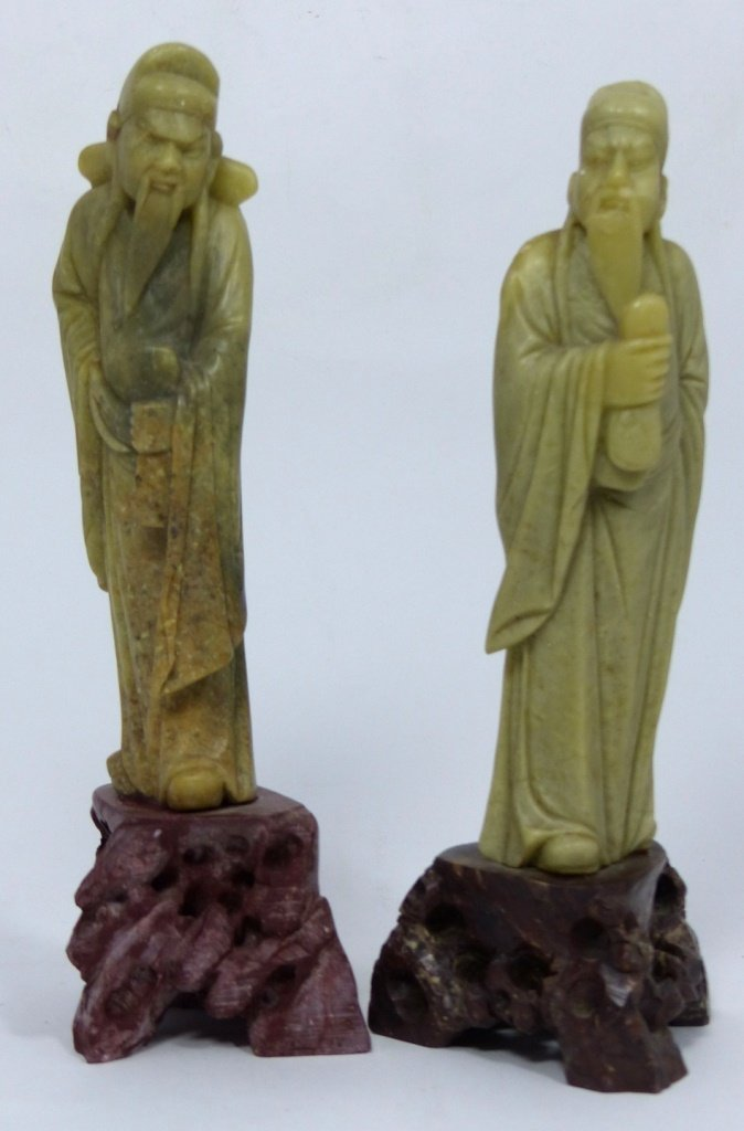 3pc CHINESE CARVED SOAPSTONE SCULPTURES - 6