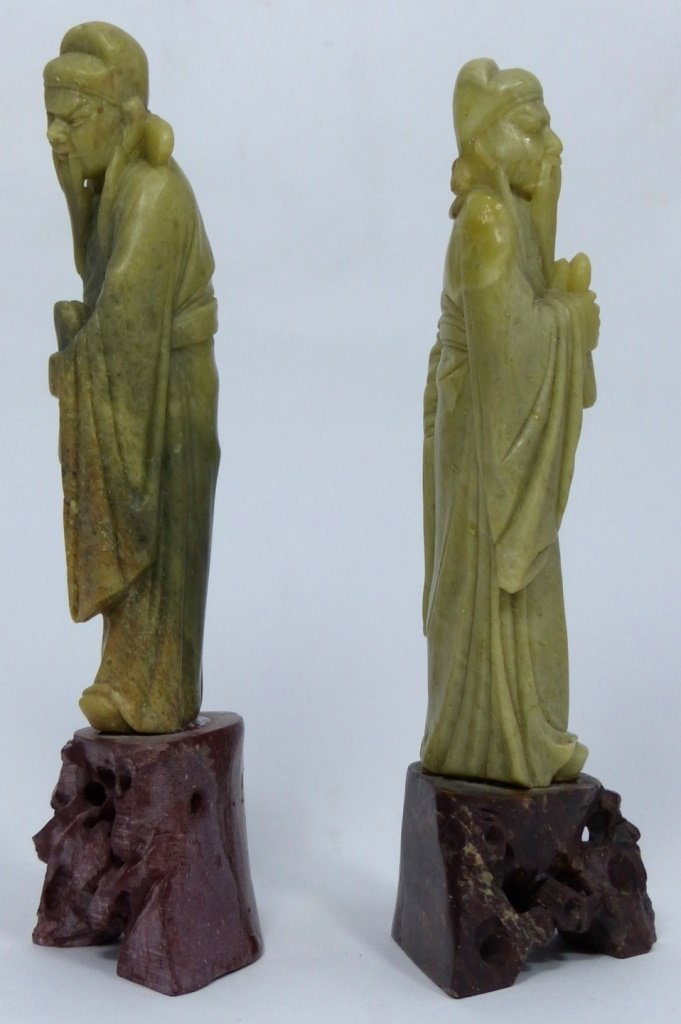 3pc CHINESE CARVED SOAPSTONE SCULPTURES - 7