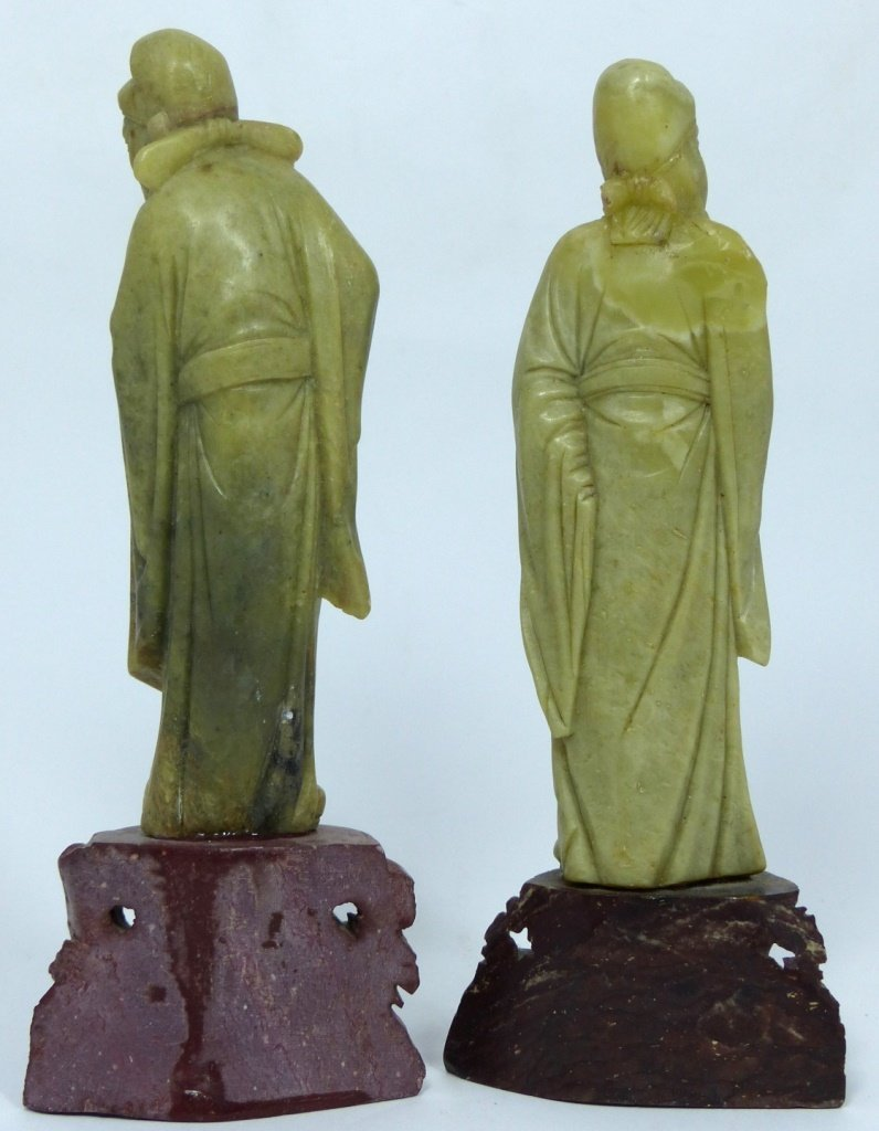 3pc CHINESE CARVED SOAPSTONE SCULPTURES - 8