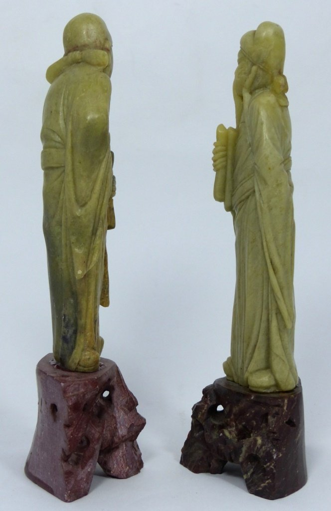 3pc CHINESE CARVED SOAPSTONE SCULPTURES - 9