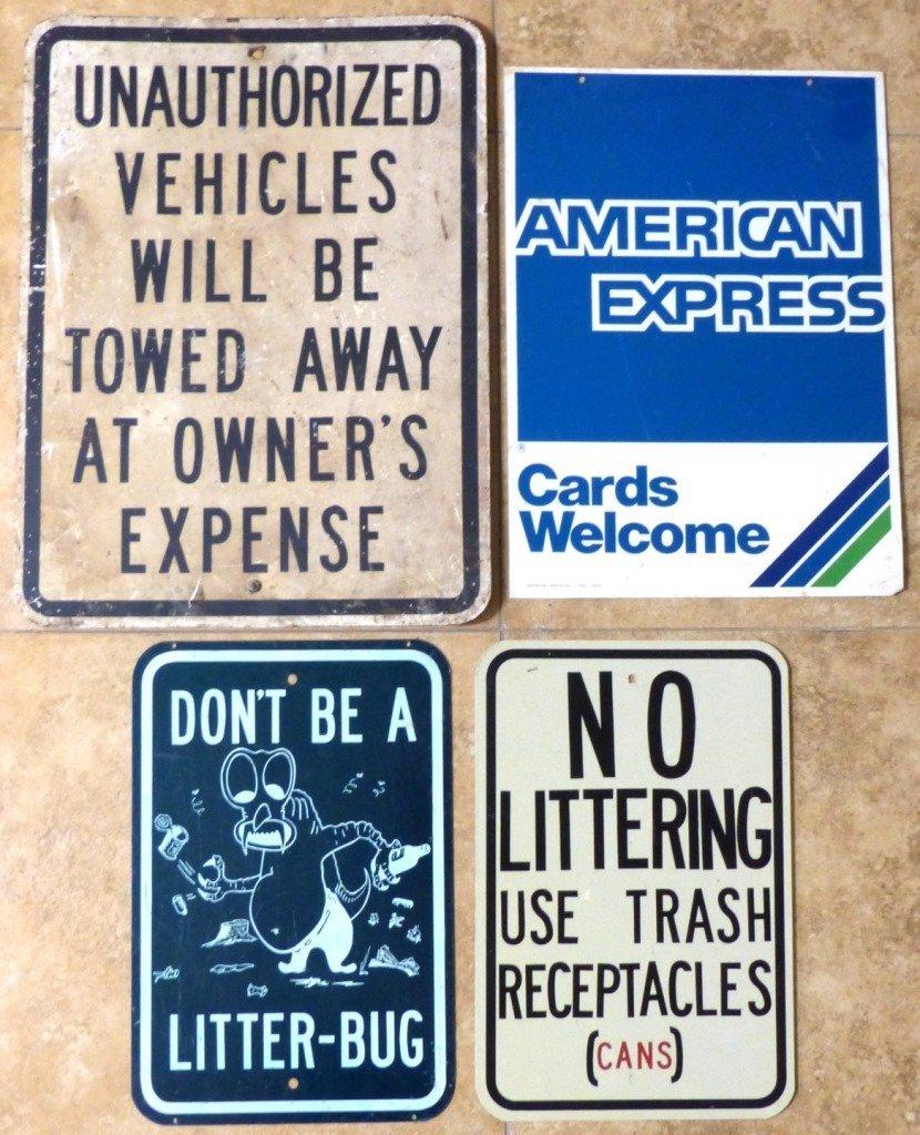 4pc VINTAGE METAL STREET/ADVERTISING SIGNS