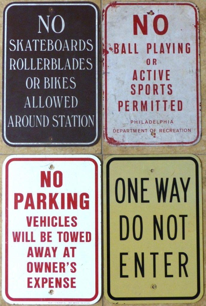 4pc VINTAGE METAL STREET SIGNS