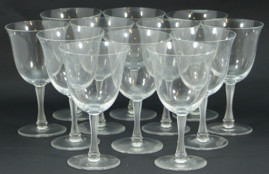 12pc LALIQUE FRANCE CRYSTAL WATER GOBLETS