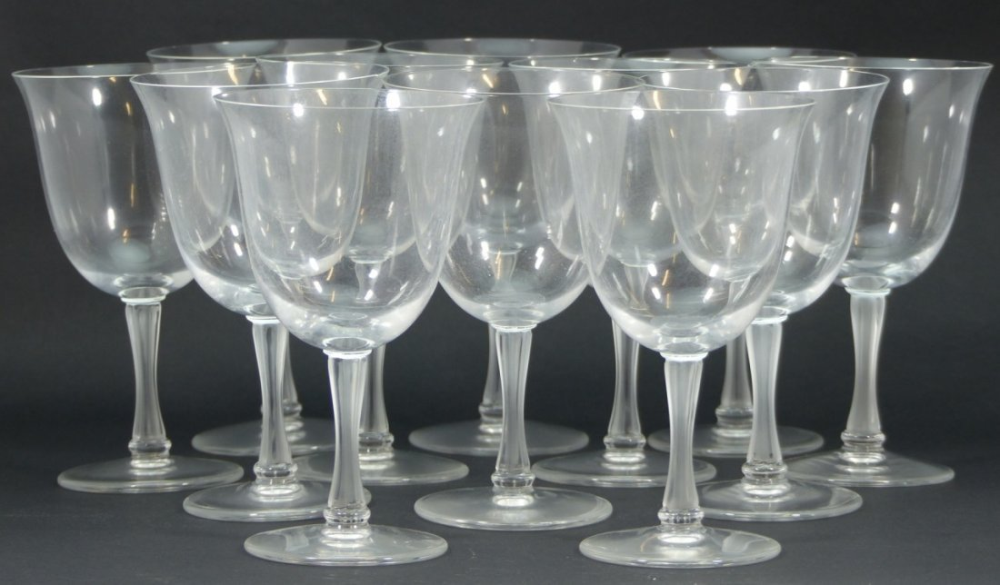 12pc LALIQUE FRANCE CRYSTAL WATER GOBLETS - 4
