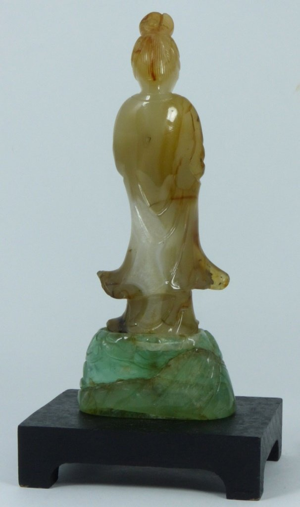 CHINESE CARVED AGATE & QUARTZ QUAN YIN - 4