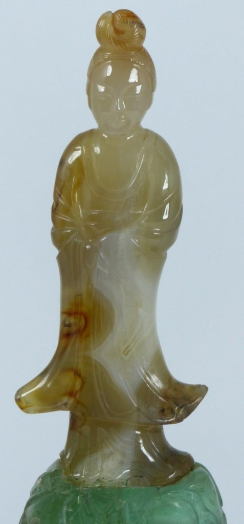 CHINESE CARVED AGATE & QUARTZ QUAN YIN - 7