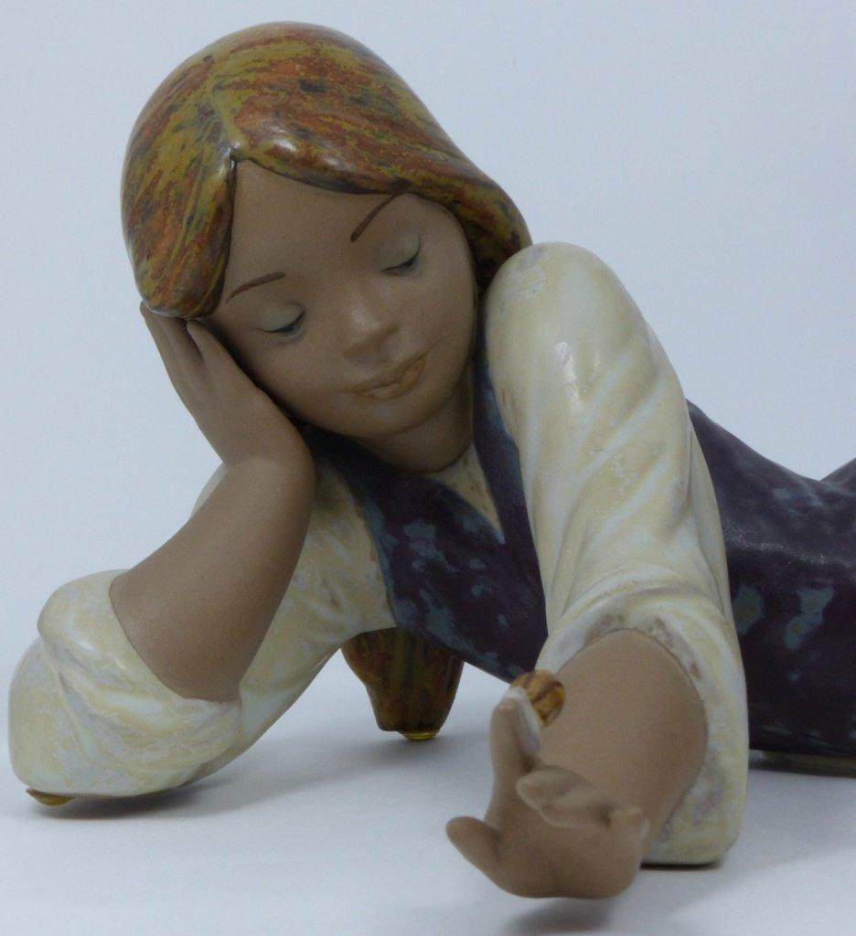 RETIRED LLADRO PORCELAIN GIRL w SNAIL FIGURINE - 2