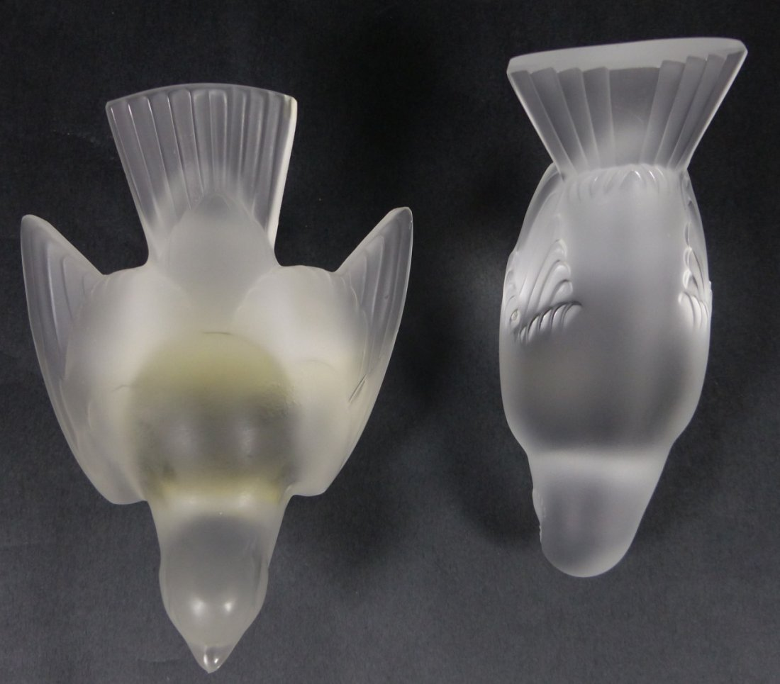 TWO LALIQUE FRANCE CRYSTAL BIRD SCULPTURES - 5