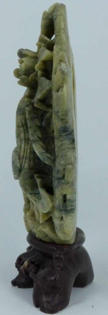 CHINESE HARDSTONE CARVING OF BIRD AND FLOWERS - 4