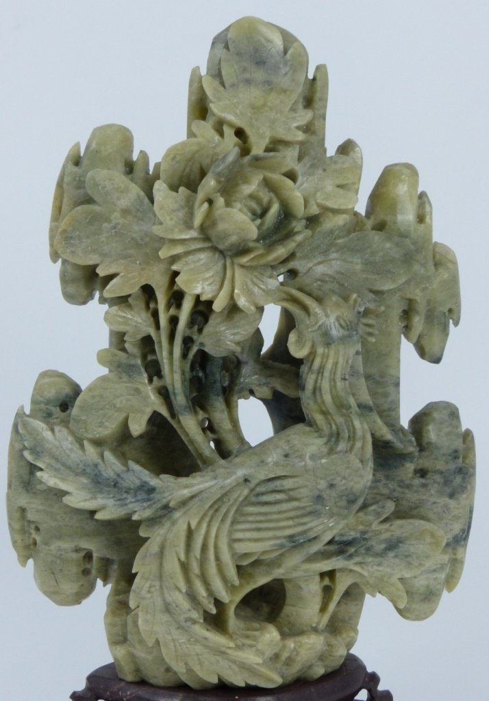 CHINESE HARDSTONE CARVING OF BIRD AND FLOWERS - 5