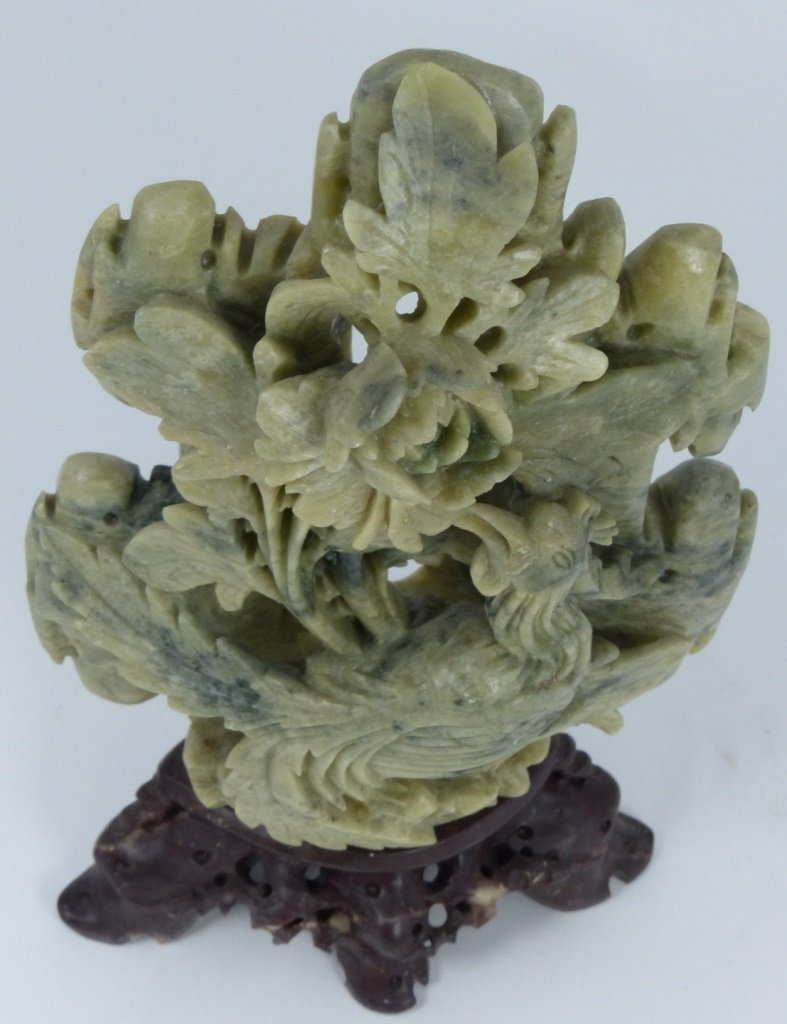 CHINESE HARDSTONE CARVING OF BIRD AND FLOWERS - 6