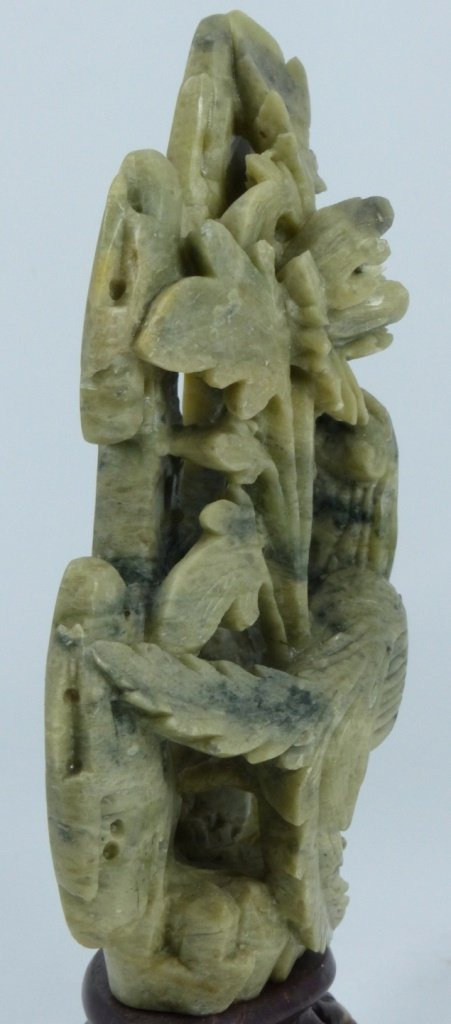 CHINESE HARDSTONE CARVING OF BIRD AND FLOWERS - 8