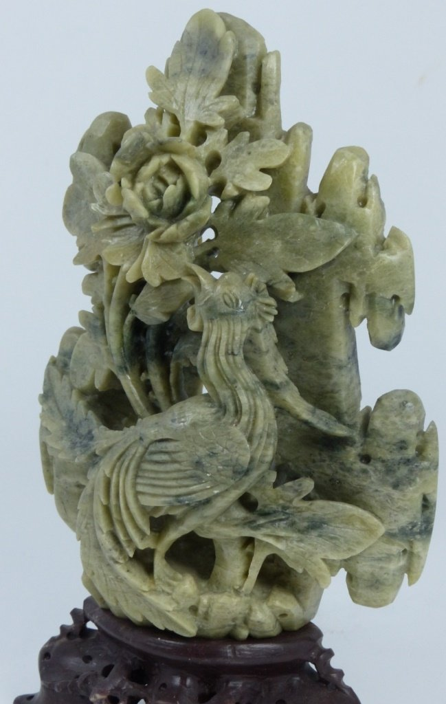 CHINESE HARDSTONE CARVING OF BIRD AND FLOWERS - 9