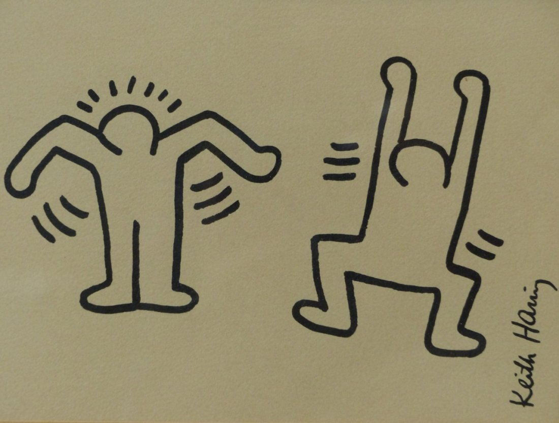 KEITH HARING SIGNED INK/MARKER ON PAPER - 2
