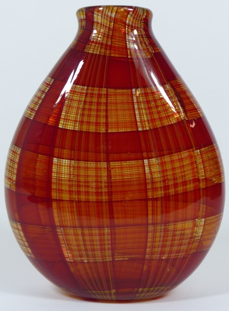 ROBIN MIX STYLE ART GLASS RED PLAID VASE - 2