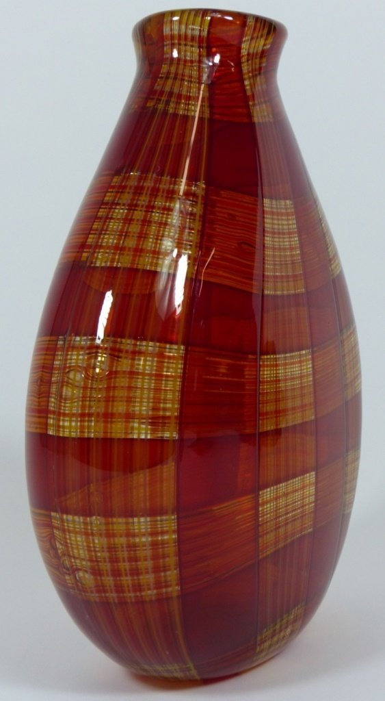 ROBIN MIX STYLE ART GLASS RED PLAID VASE - 4