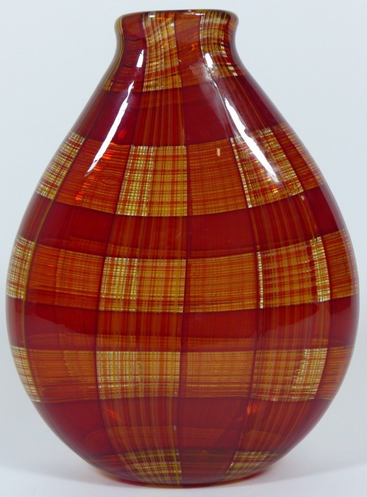 ROBIN MIX STYLE ART GLASS RED PLAID VASE - 5