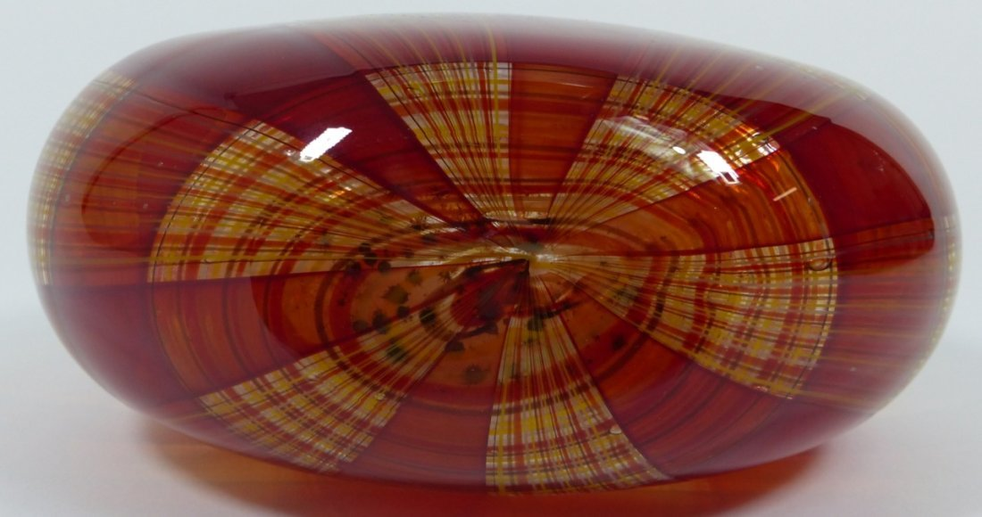 ROBIN MIX STYLE ART GLASS RED PLAID VASE - 8