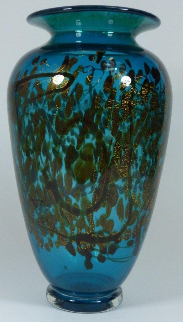 LARGE MICHAEL NOUROT ART GLASS VASE SIGNED
