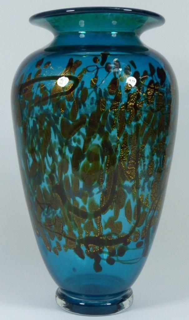 LARGE MICHAEL NOUROT ART GLASS VASE SIGNED - 2