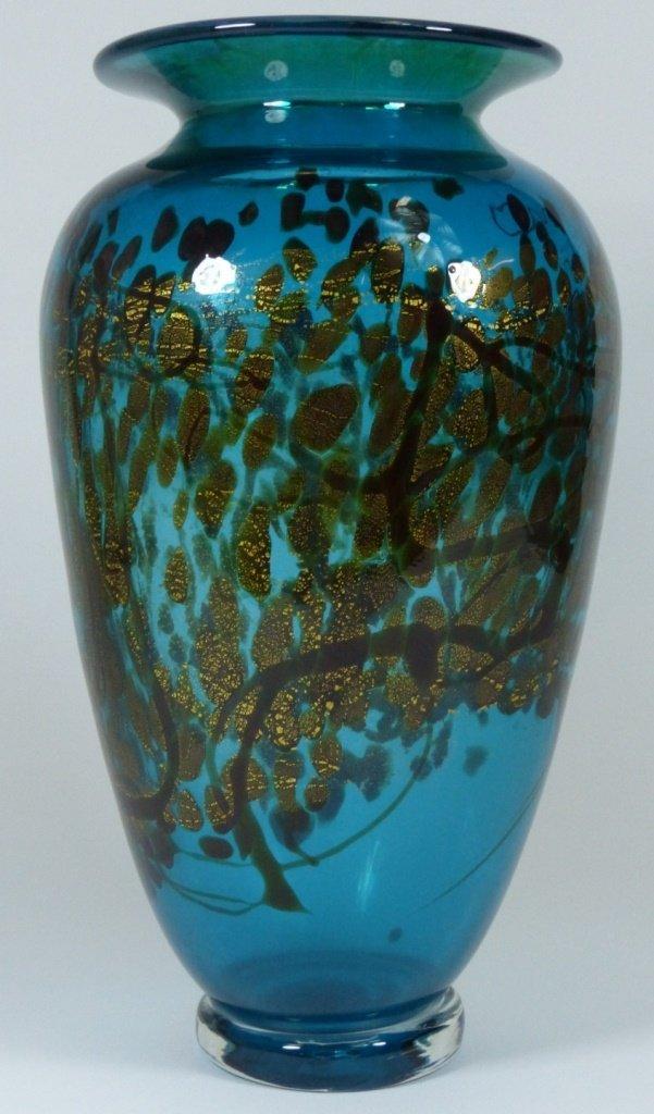 LARGE MICHAEL NOUROT ART GLASS VASE SIGNED - 3
