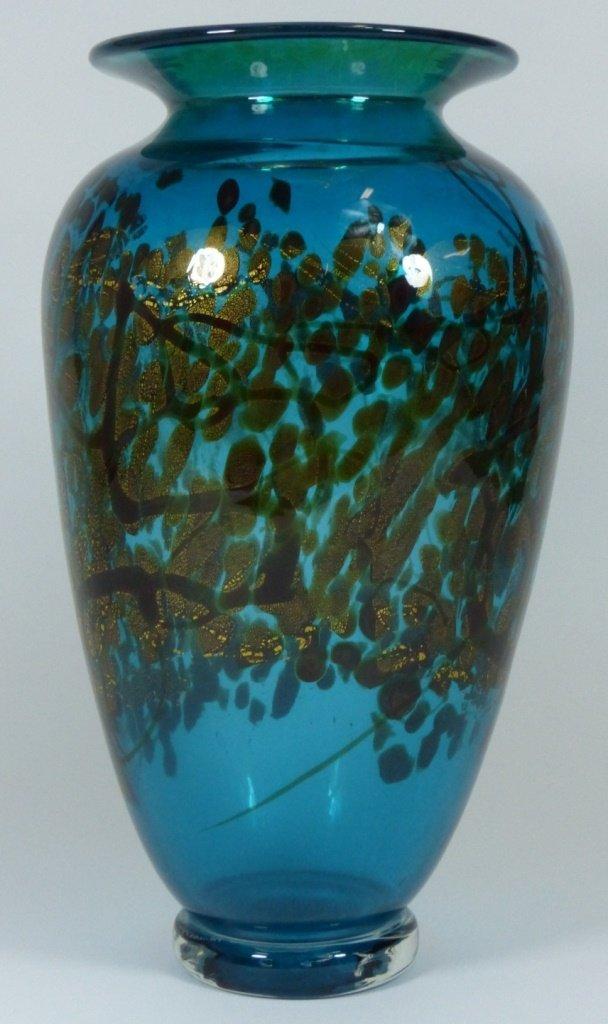 LARGE MICHAEL NOUROT ART GLASS VASE SIGNED - 4