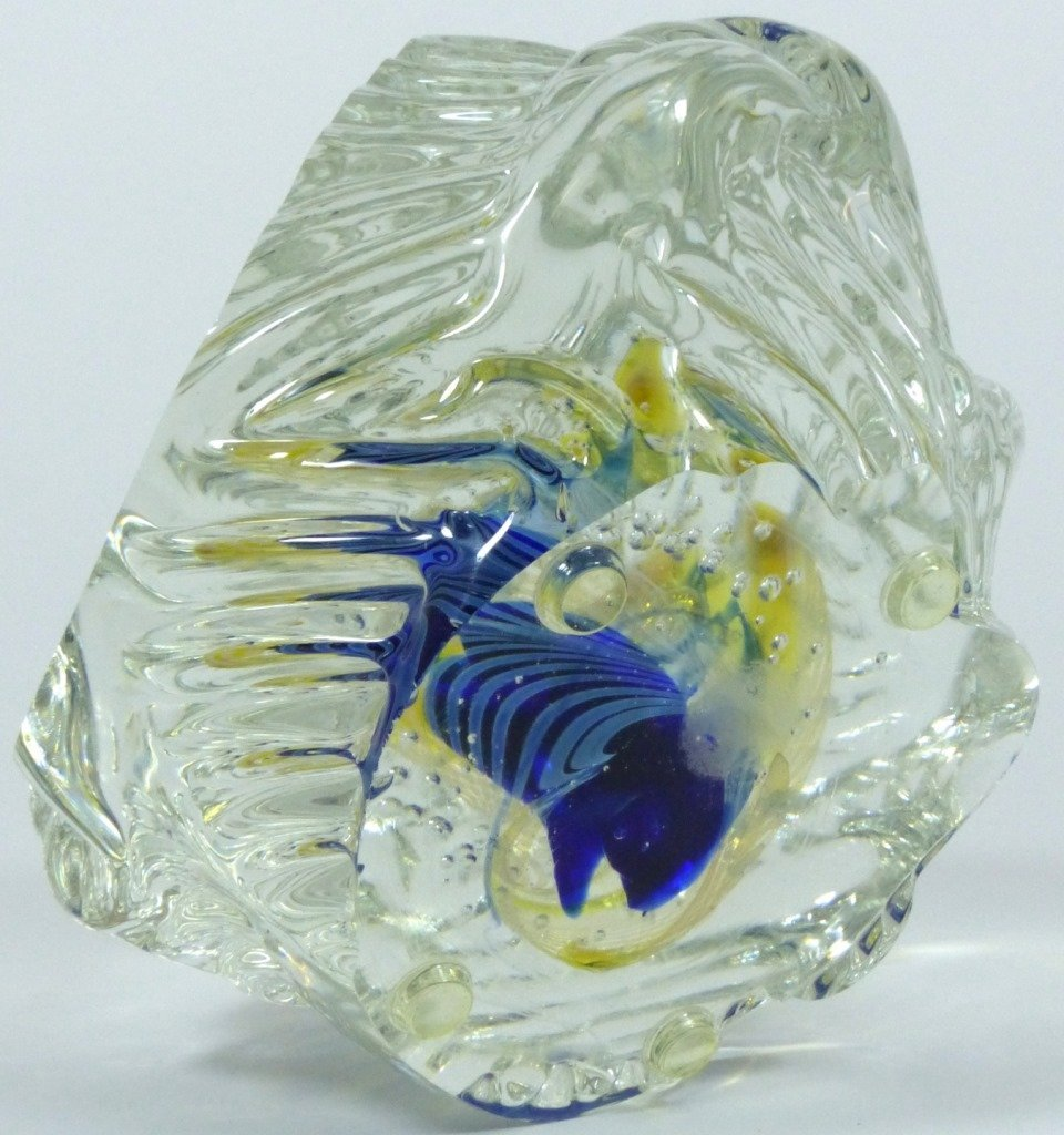 LARGE IMPRESSIVE STUDIO ART GLASS PAPERWEIGHT - 9