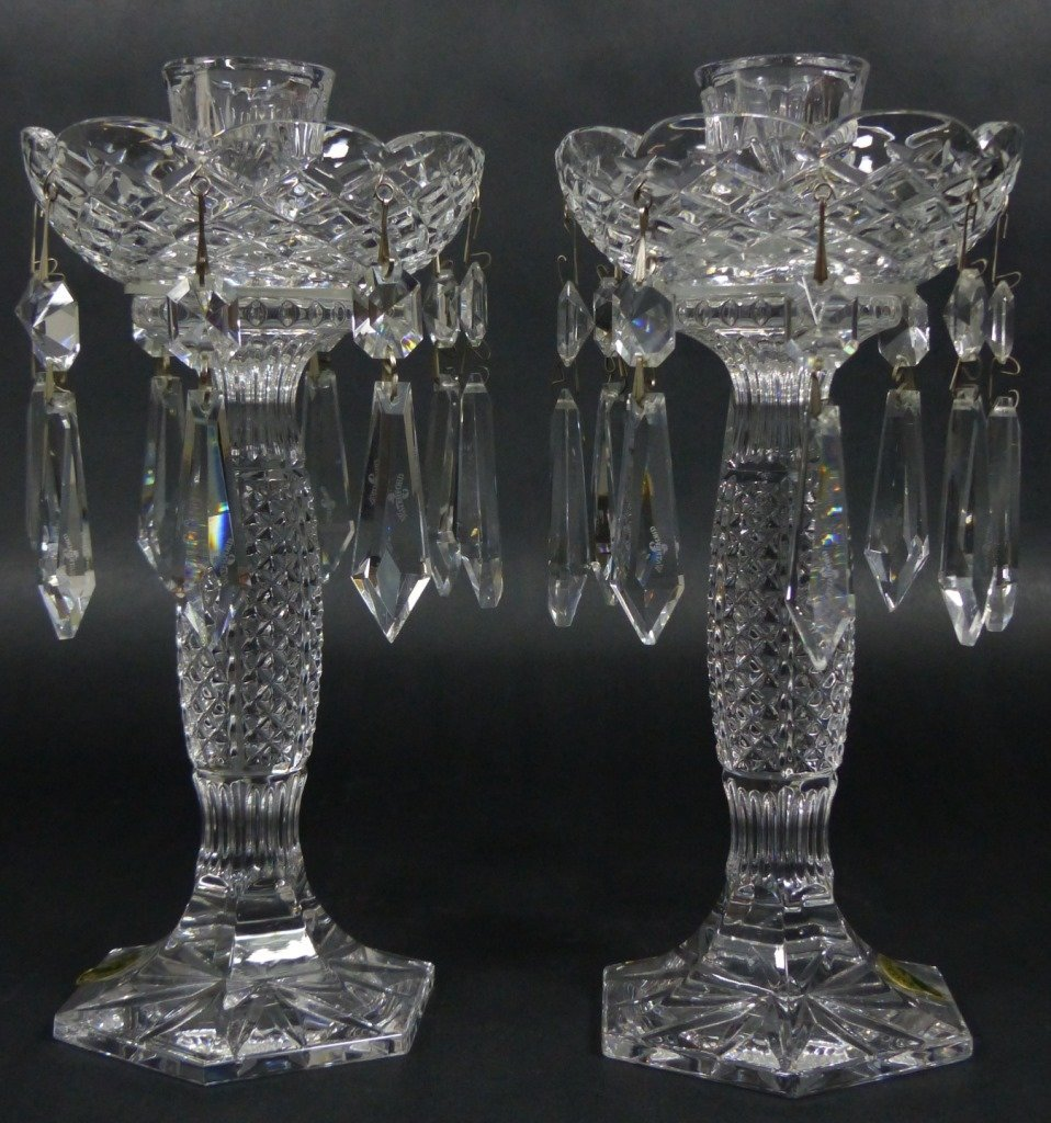 PAIR WATERFORD CUT CRYSTAL LUSTERS