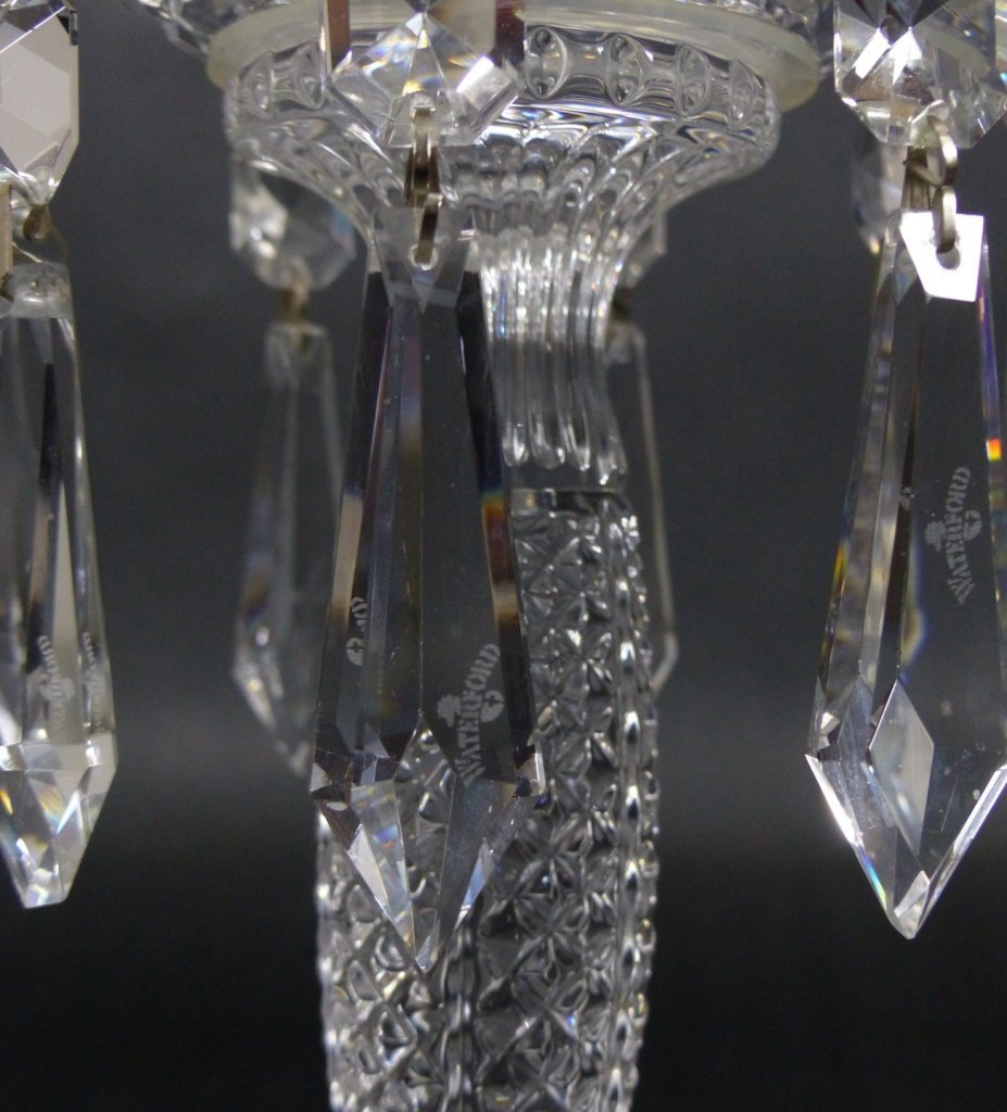 PAIR WATERFORD CUT CRYSTAL LUSTERS - 2