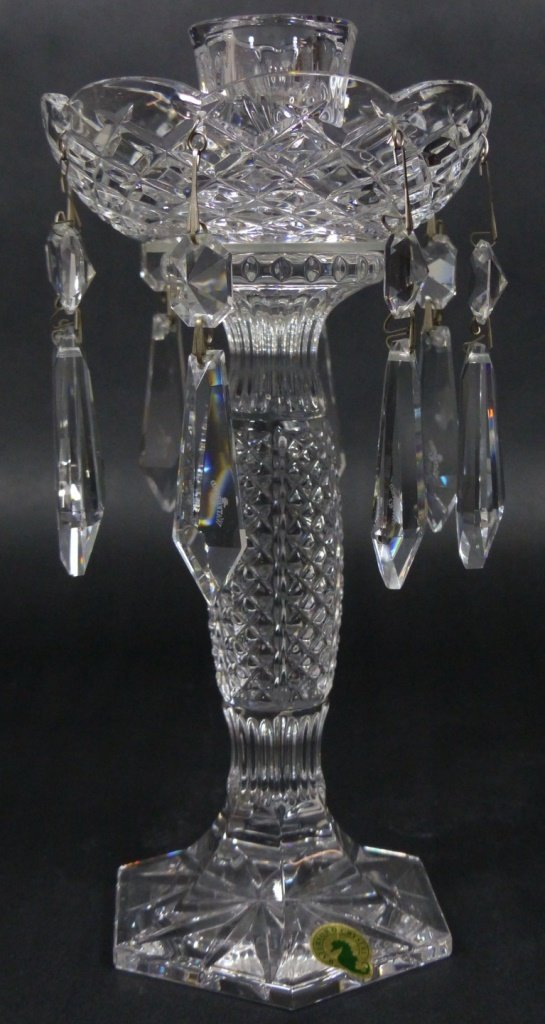 PAIR WATERFORD CUT CRYSTAL LUSTERS - 5
