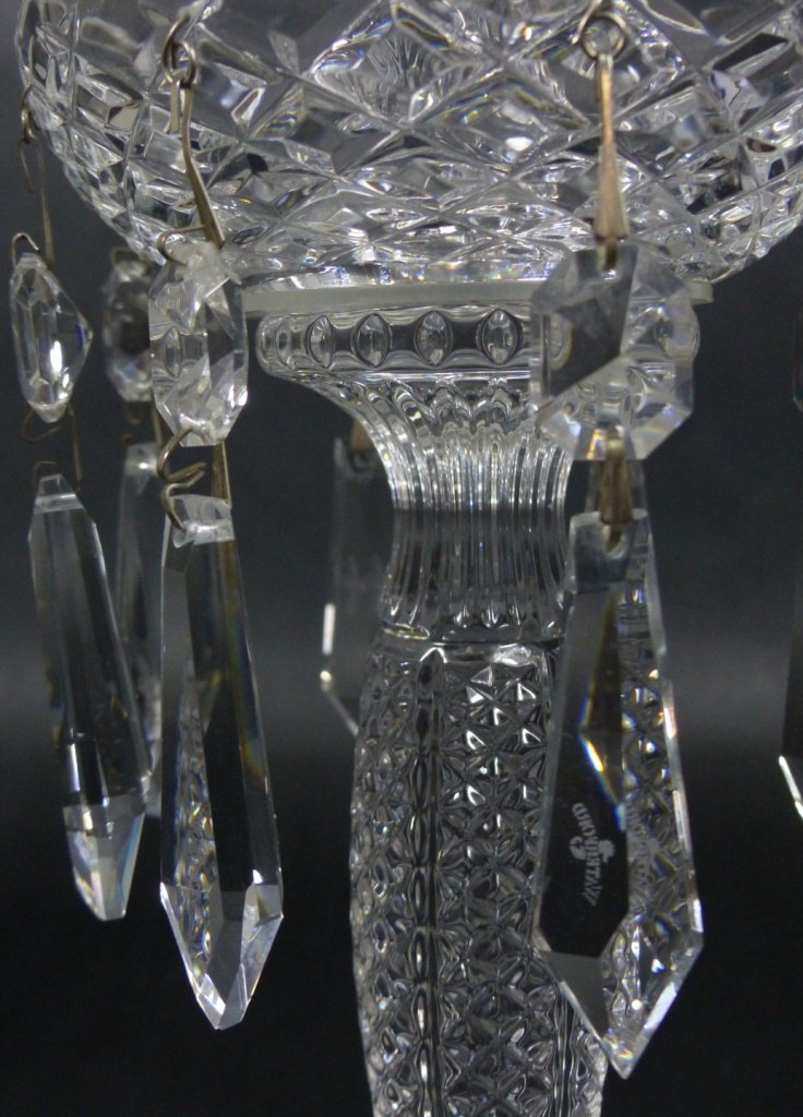 PAIR WATERFORD CUT CRYSTAL LUSTERS - 6