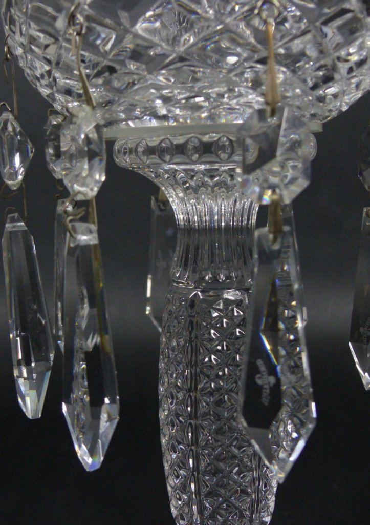 PAIR WATERFORD CUT CRYSTAL LUSTERS - 7
