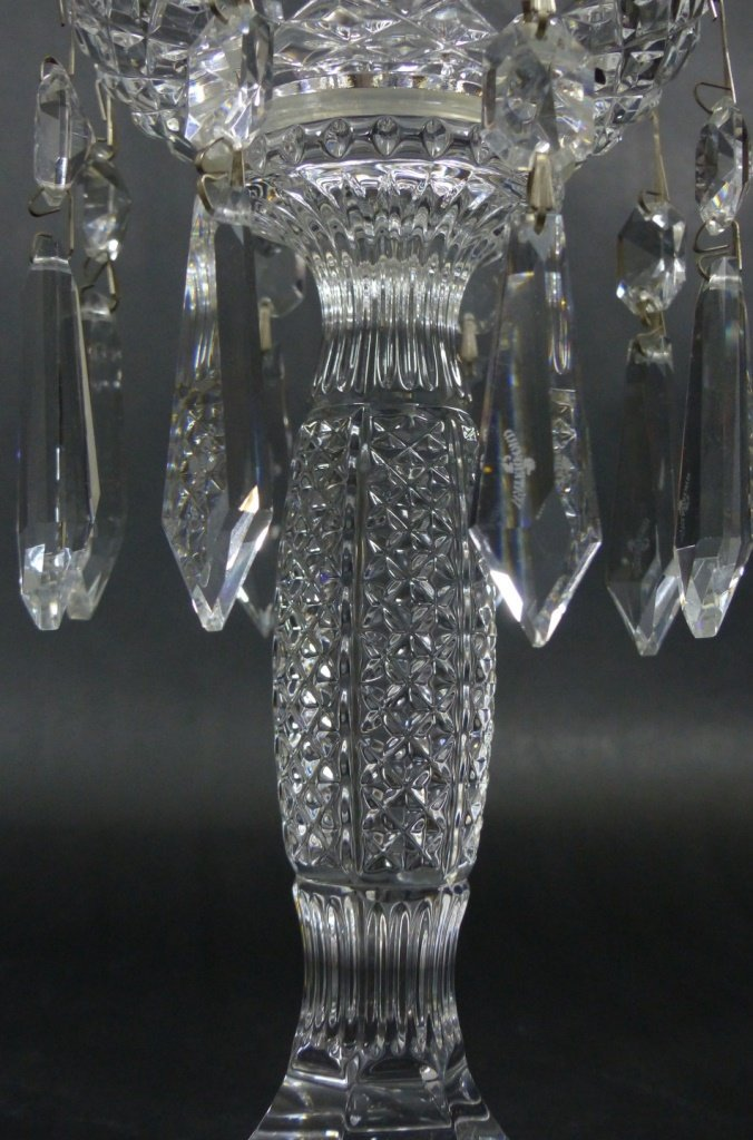 PAIR WATERFORD CUT CRYSTAL LUSTERS - 8
